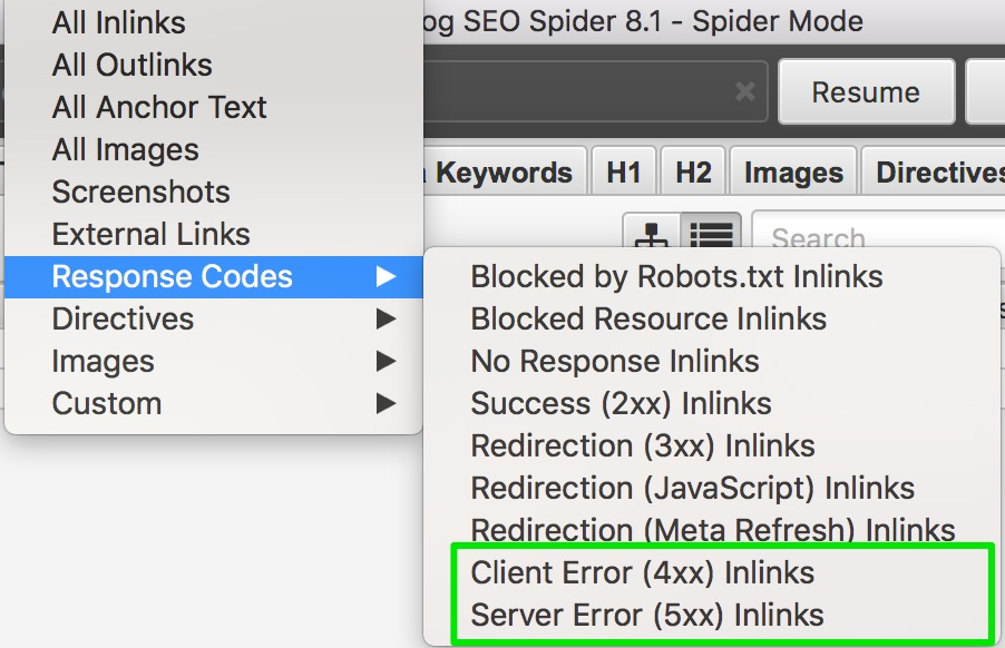 Picture of SEO Spider: Crawl 4xx and 5xx