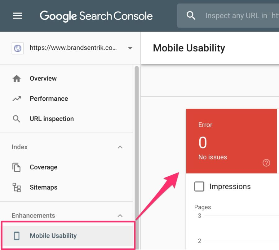Picture of Google Search engine console